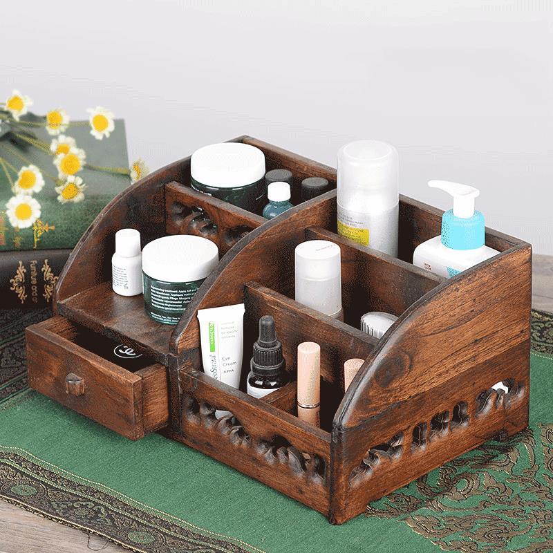 化妝品收納盒抽屜實木辦公桌面梳妝臺護膚刷口紅整理飾品盒首飾盒