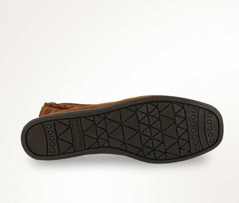 【Minnetonka 莫卡辛】深棕色 - 麂皮後拉鍊流蘇莫卡辛短靴 3
