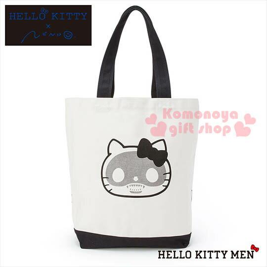 〔小禮堂〕Hello Kitty x nendo 帆布側肩背袋~黑白.骷髏頭.大臉~變形蟲