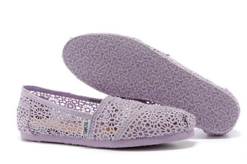 【TOMS】淡紫色蕾絲鏤空繡花平底休閒鞋  Lilac Snow Crochet Women's Classics【全店免運】 4