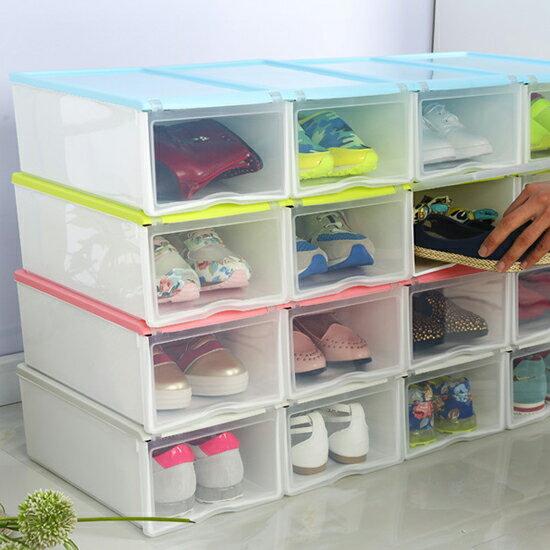 ♚MY COLOR♚ 式翻蓋加大鞋盒 透明 收納 置物 儲物 雜物 可疊加 加厚 抽屜式