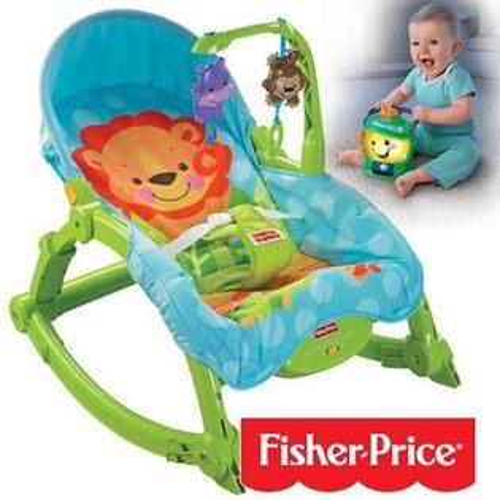 【奇買親子購物網】費雪牌Fisher-Price可愛動物可攜式兩用安撫躺椅+學習小提燈