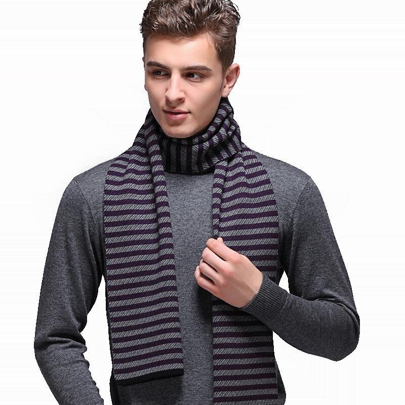 圍巾針織披肩-羊毛商務條紋時尚男配件3色73wi72【獨家進口】【米蘭精品】