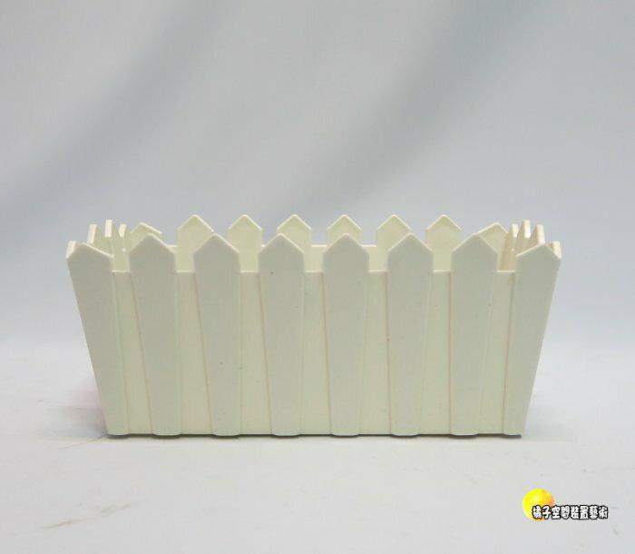 ^~橘子空間裝置藝術^~ 塑膠製 白色小柵欄花器.擺飾.飾品 ~人造花.插花用品.器材.花