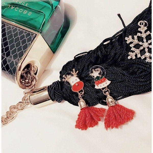 PS Mall  耶誕節 小鹿聖誕老人雪花流蘇鑽飾星星毛線耳釘 耳環 ~G2379~ ~