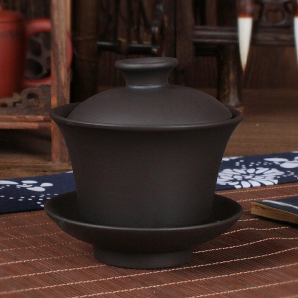 功夫茶具茶碗紫砂三才碗陶瓷蓋碗套裝