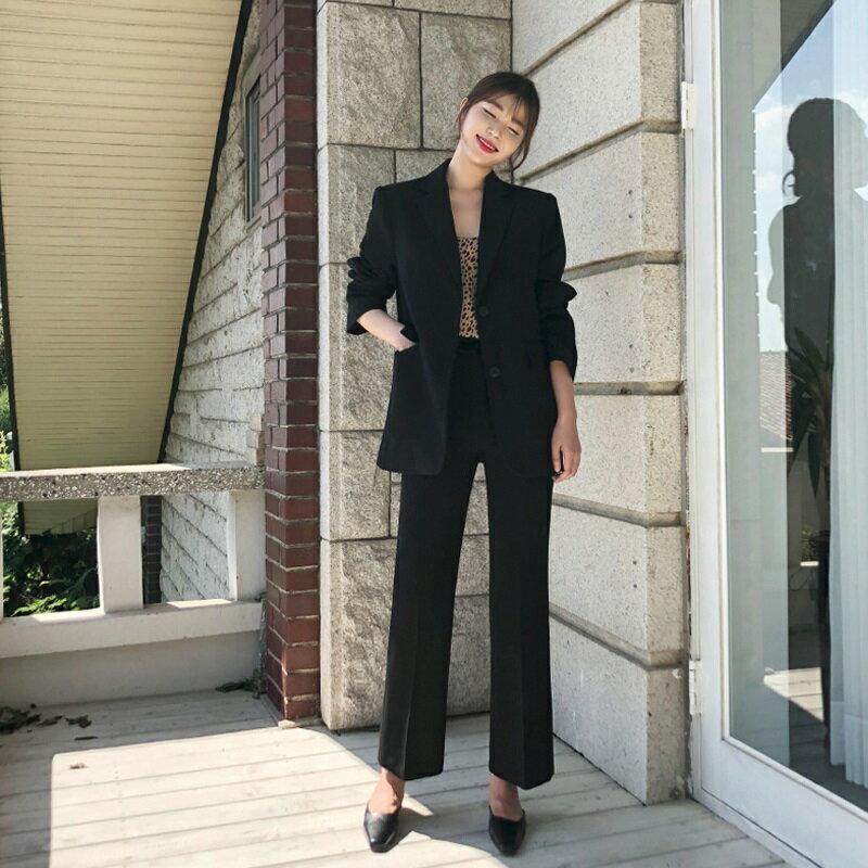 西裝套裝西裝外套+長褲(兩件套)-黑色休閒寬鬆時尚女西服73xs30【獨家進口】【米蘭精品】
