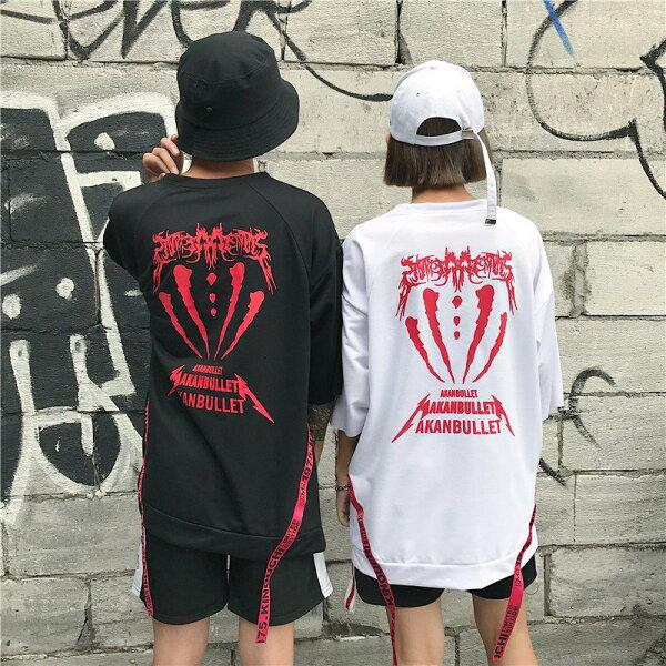 FINDSENSE服飾:FINDSENSEMD日系潮街頭男女情侶裝寬鬆五分袖側拉鏈字母印花短袖T恤特色短T