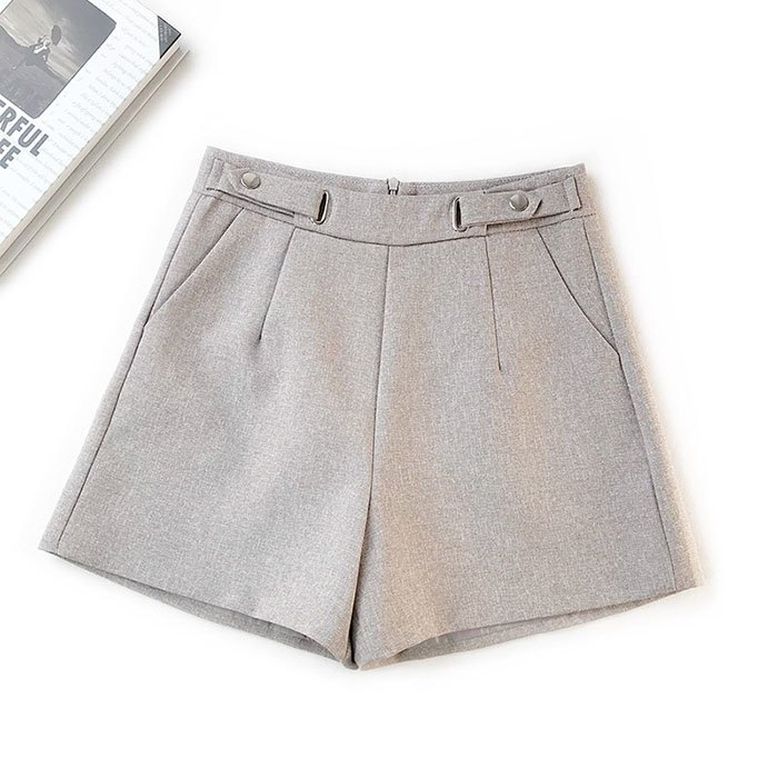 短褲 素色 金屬 裝飾 雙邊釦子 後拉鍊 寬管褲 百搭 短褲【HA855】 BOBI  02 / 14 8