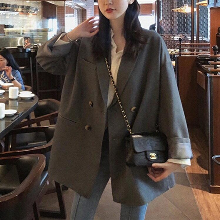 西裝外套女 灰色小西裝外套女士2020年秋季新款正韓英倫風設計感小眾西服上衣『CM40881』
