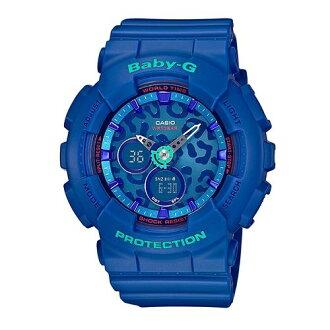 CASIO BABY-G BA-120LP-2A藍面豹紋雙顯流行腕錶/白面43.4mm