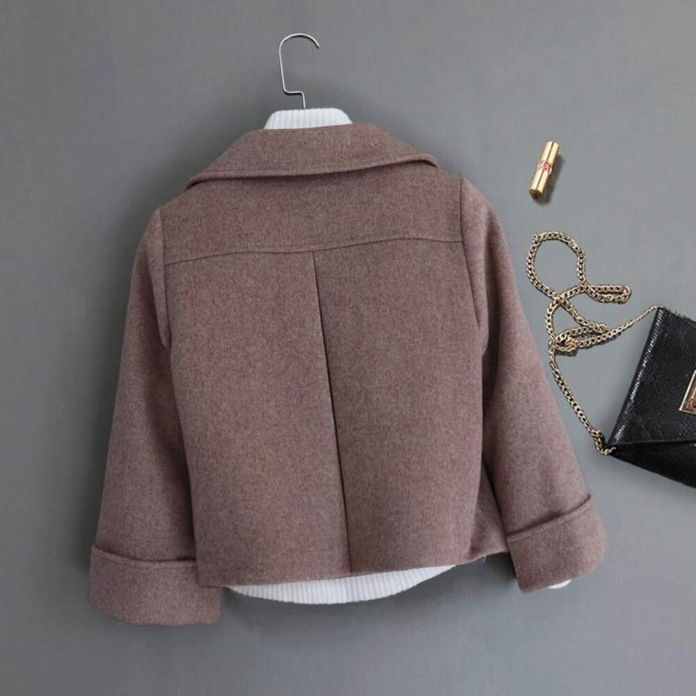 短版大衣 寬鬆休閒毛呢外套女短款時尚顯瘦呢子大衣潮  都市時尚