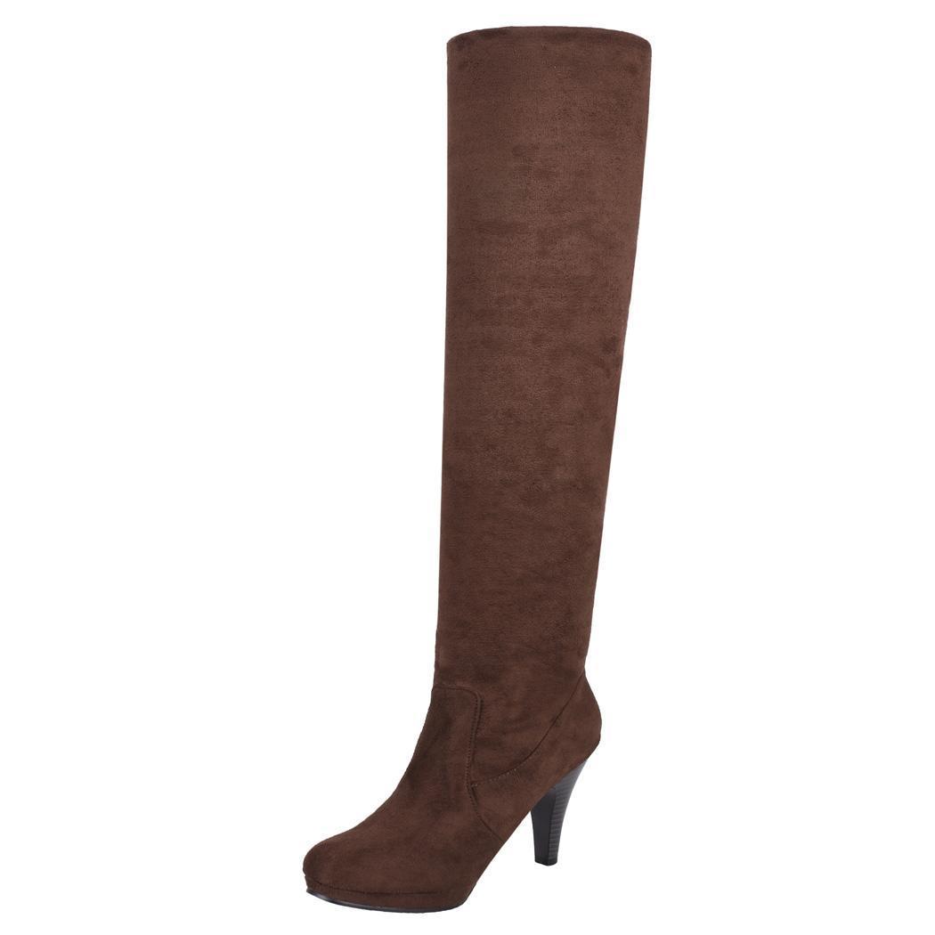 Women Over Knee Thigh High Stiletto Heel Platform Stretch Boot Size 36-39 1