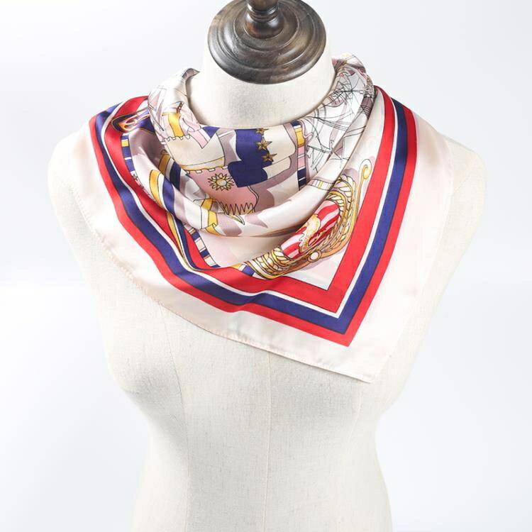 韓國裝飾文藝絲巾女chic領巾百搭ins復古空姐職業圍巾小方巾