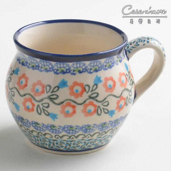 波蘭陶紅花綠蔓系列胖胖杯馬克杯咖啡杯水杯320ml波蘭手工製