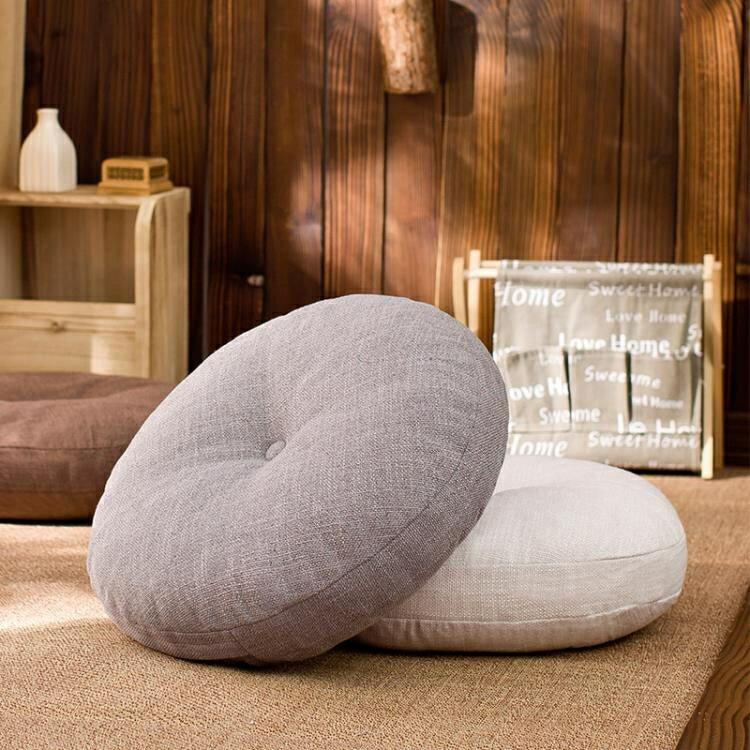 榻榻米坐墊 亞麻蒲團坐墊飄窗日式瑜伽禪修打坐墊布藝圓形榻榻米坐墊座椅墊子
