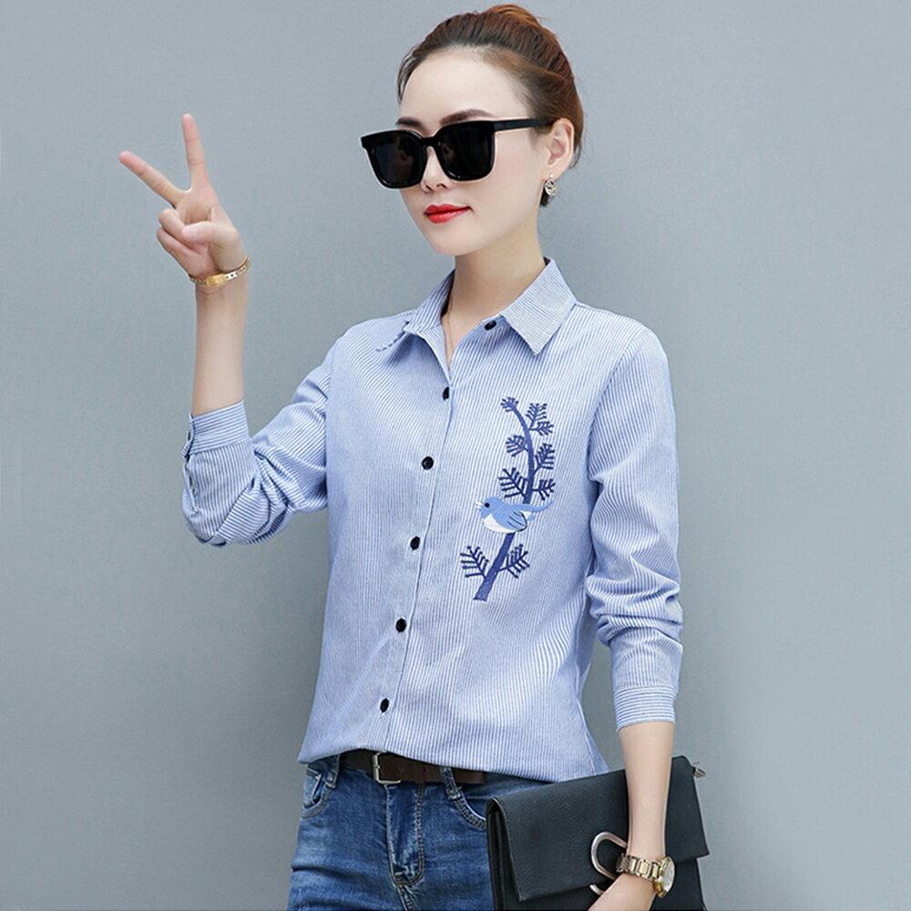 韓版刺繡條紋襯衫長袖襯衣(3色S~4XL)【OREAD】 0