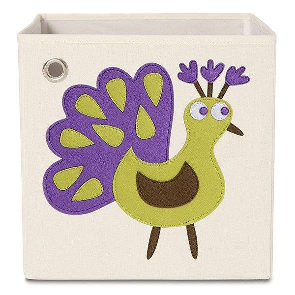 美國【KAIKAI&ASH】動物系列收納箱-漂亮孔雀摺疊收納箱玩具收納箱整理箱設計風棉麻不織布