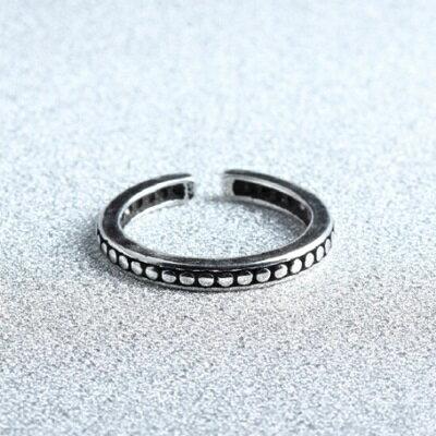 925純銀戒指圓點開口戒~ 復古百搭 生日情人節 女飾品73gp15~ ~~米蘭 ~