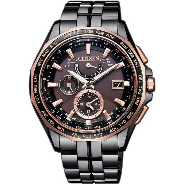 CITIZEN 星辰錶 AT9096-73E 旗艦電波光動能鈦金屬多功能時尚腕錶/黑玫瑰金 43mm