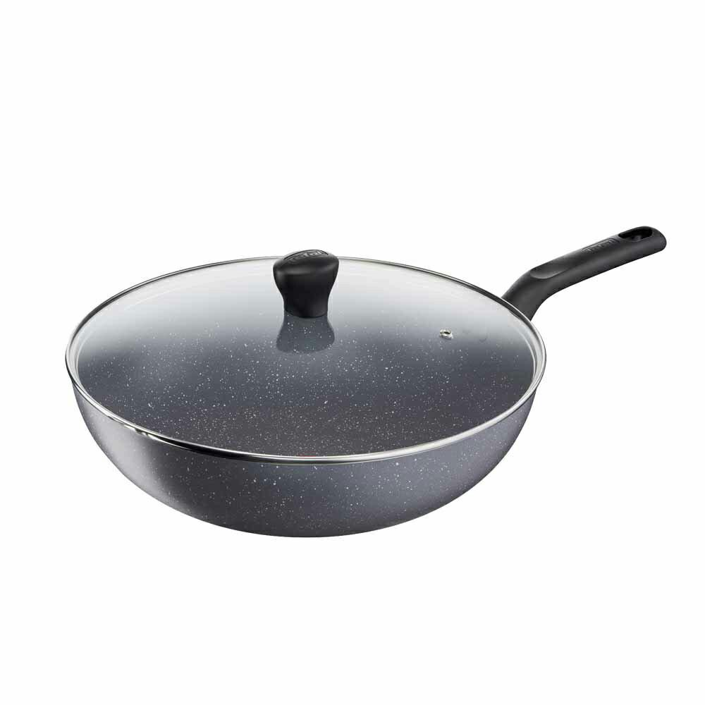 Tefal法國特福 全新鈦升級-礦石灰系列28CM不沾小炒鍋(含蓋)