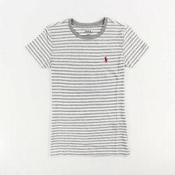 美國百分百【Ralph Lauren】女 RL POLO 短袖 T-shirt T恤 上衣 圓領 灰白 條紋XS號 I031