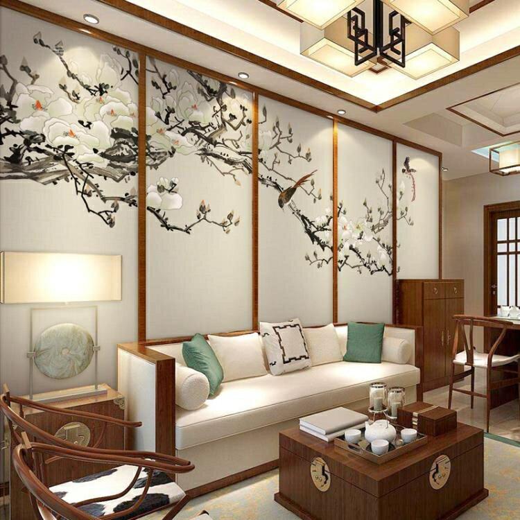 壁畫 客廳裝飾壁紙花鳥畫背景牆紙客廳影視牆布無縫