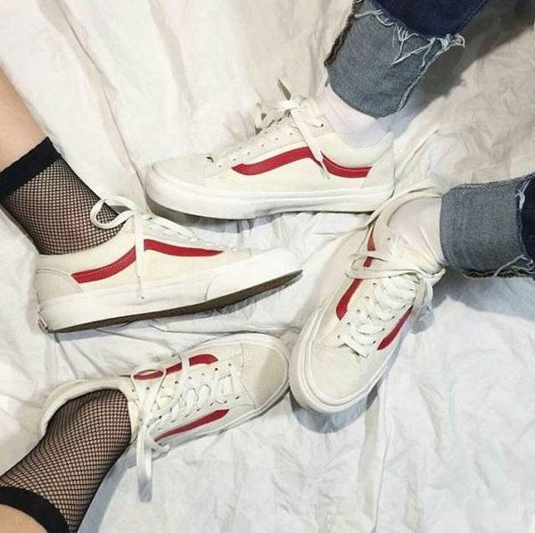 VANS STYLE36 OLD SKOOL 米白 紅 復刻 復古 GD著 限量 滑板鞋
