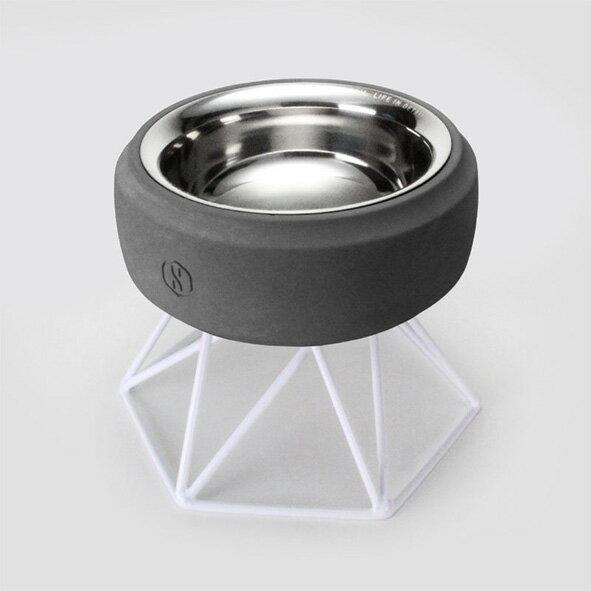 SPUTNIK 寵物碗架 Cozy Cement Bowl - 黑水泥+白架(M1) Pet's Talk 2