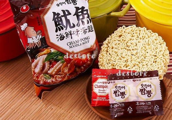 有樂町進口食品 韓國泡麵~農心魷魚海鮮味湯麵魷魚風味炒碼麵 1