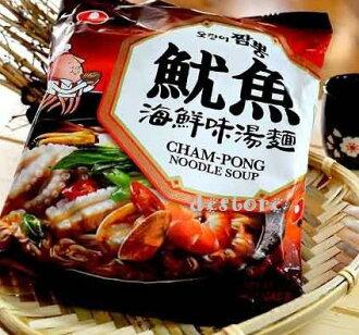 有樂町進口食品 韓國泡麵~農心魷魚海鮮味湯麵魷魚風味炒碼麵