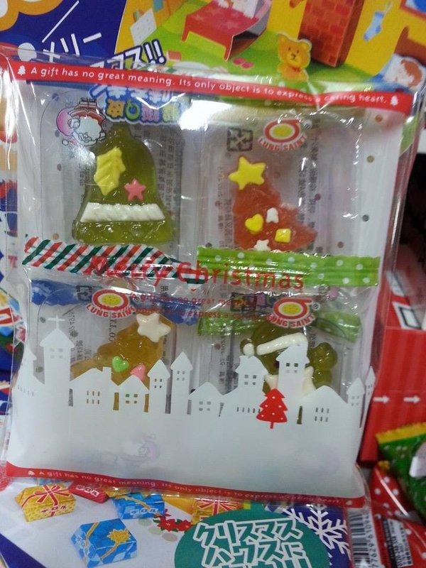 有樂町進口食品 聖誕節軟糖 Q皮軟糖 造型軟糖 4個入 聖誕老公公 鈴鐺 麋鹿 聖誕樹 (糖果/包裝以聖誕為主 隨機)
