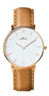【完全計時】手錶館│MaxMax極簡主義MAS7025-4卡其皮帶雅致白小錶徑