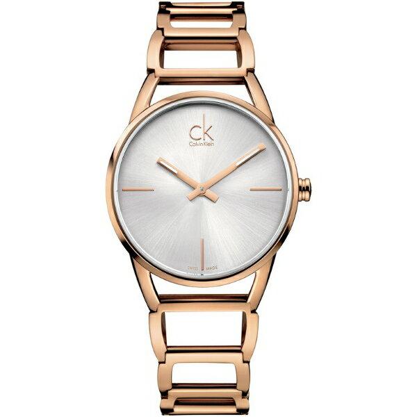 CK 璀璨系列(K3G23626)玫瑰金時尚鏤空手環腕錶/白面33.5mm