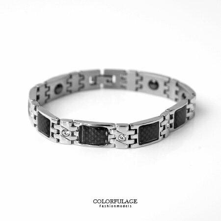 手環 奧地利水鑽鍺石鋼製手環 抗過敏材質 精緻個性款雙色搭配 柒彩年代【NA361】黑色格紋質感 0