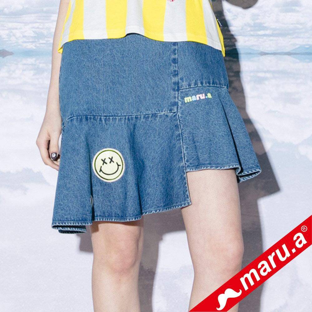 【maru.a】斜邊魚尾貼布繡牛仔裙(2色)8326113 1