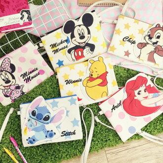 PGS7 迪士尼系列商品 - 迪士尼 帆布 雙層 側背包 bag 米奇 史迪奇 奇奇蒂蒂 小美人魚 愛麗兒