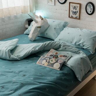 綠色十字 床包/被套/兩用被/枕套 單品賣場 100%復古純棉