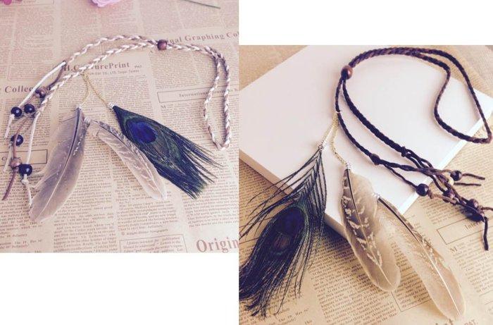 ★草魚妹★H447波西米亞印地安民族風手工製作孔雀羽毛麻花辮髮飾髮帶髮圈頭飾,售價128元