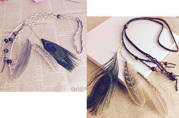 草魚妹:★草魚妹★H447波西米亞印地安民族風手工製作孔雀羽毛麻花辮髮飾髮帶髮圈頭飾,售價128元