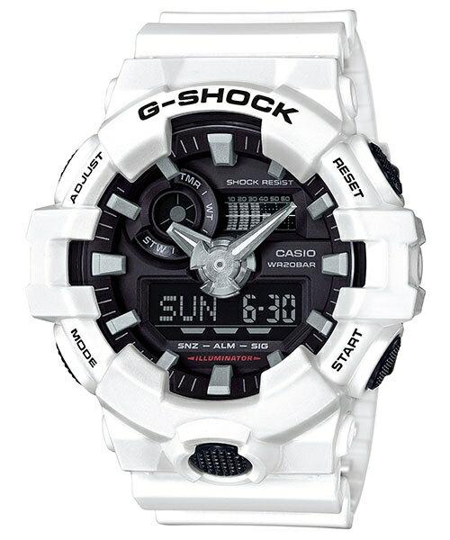 CASIO G-SHOCK GA-700-7A 金屬感雙顯時尚腕錶/白