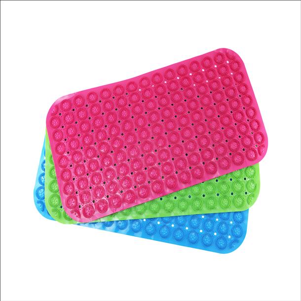 【珍昕】皮久熊 風呂浴室按摩止滑踏墊(37x71cm)3色/藍色.綠色.粉紅