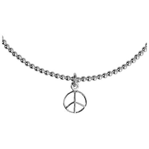 Elastic Bead Link Peace Sign Sterling Silver Bangle Bracelet 2