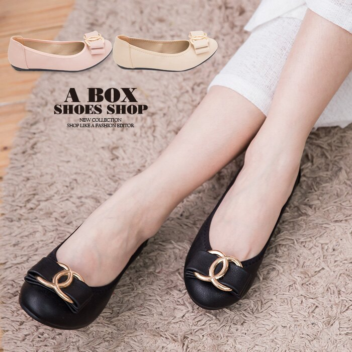 格子舖*【AB116】MIT台灣製 基本款氣質典雅蝴蝶結 舒適柔軟豆豆鞋 圓頭包鞋 3色 0