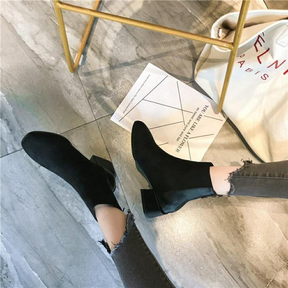 南在南方簡約短靴女新款復古中跟后拉鏈單靴子圓頭及踝靴 錢夫人小鋪
