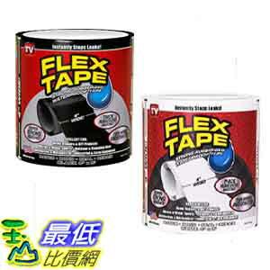 """[106美國直購] 4""""x5' (10.2 x 152.5公分) 強力防水貼布x2入 黑白兩色 Flex Seal Flex Tape"""