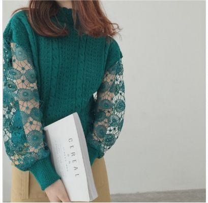 高領鏤空袖針織上衣 姜黃色/杏色/孔雀藍