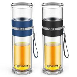 富光雙層玻璃杯茶水分離泡茶杯男女創意便攜水杯花茶杯過濾隨手杯 時尚潮流