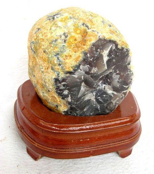 瑪瑙聚寶盆擺件水晶聚寶盆1.08千克水晶瑪瑙洞小蝌蚪