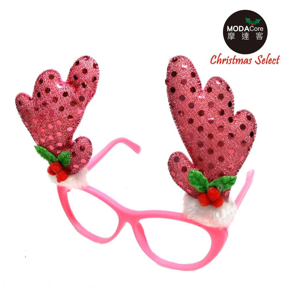 ~摩達客~聖誕派對 眼鏡~粉紅鹿角 YS~PDG17003